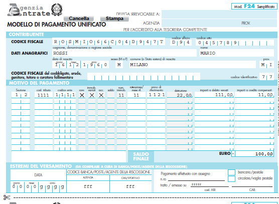 Modello f24 compilabile imu 2015 editabile scrivibile da for Pagamento irpef