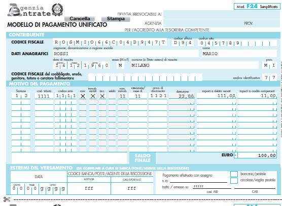 F24 semplificato editabile for Istruzioni compilazione f24 elide