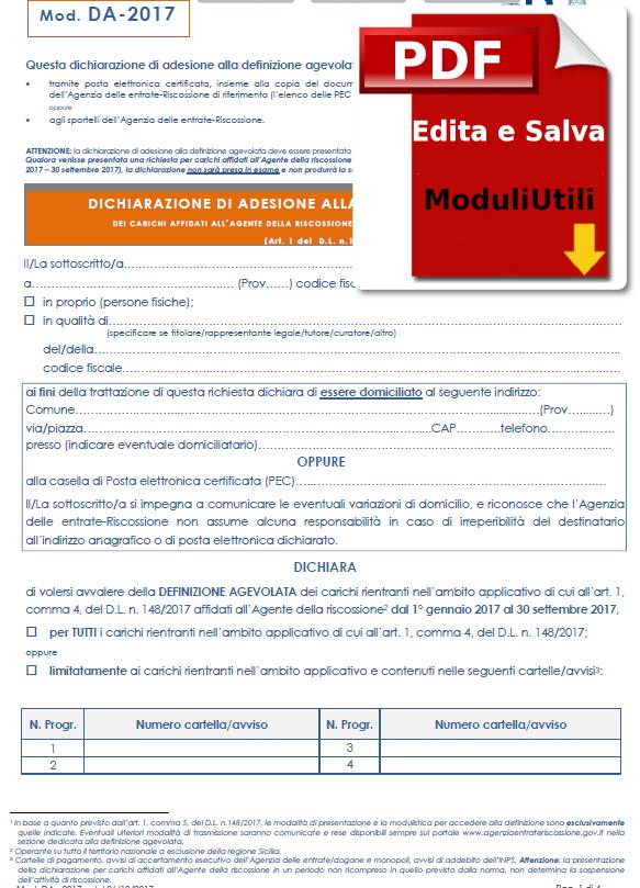 DICHIARAZIONE DI ADESIONE ALLA DEFINIZIONE AGEVOLATA EDITABILE