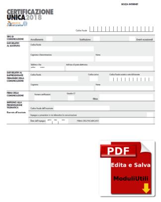 Certificazione Unica modello CU 2019