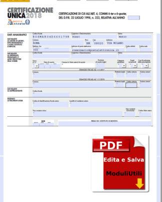Certificazione Unica editabile 2018