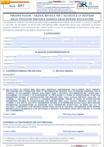 PERSONE FISICHE - DELEGA/REVOCA PER L'ACCESSO E LA GESTIONE DELLA POSIZIONE DEBITORIA AGENZIA DELLE ENTRATE-RISCOSSIONE