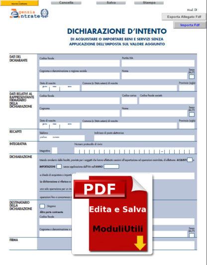 DICHIARAZIONE D'INTENTO-EDITABILE