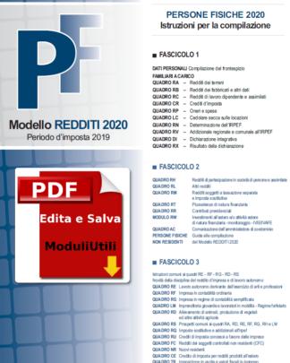 REDDITI PERSONE FISICHE 2020 EDITABILE