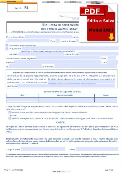 Richiesta di sospensione del fermo amministrativo-EDITABILE