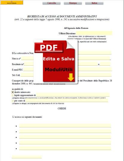 richiesta di accesso ai documenti amministrativi editabile